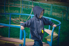 Boy in a blue sweater ride on a swing Royalty Free Stock Image