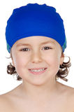 Boy  with blue swim cap Stock Image