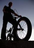 Boy on bmx bike stock photography
