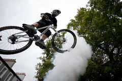 Boy on a bmx/mountain bike jumping Stock Photography