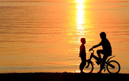 Boy on BMX silhouette background Stock Photo
