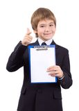 Boy with a board for write, isolated Royalty Free Stock Images