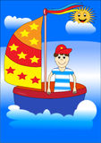 Boy on the boat Royalty Free Stock Images