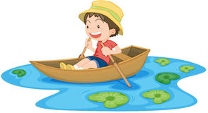A Boy in Boat. Illustration of A Boy in Boat on white background Stock Photos