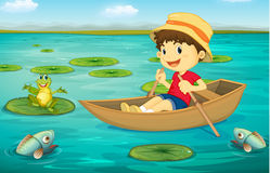 Boy in boat vector illustration