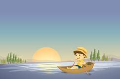 A boy and boat. Illustration of a boy and boat in a beautiful nature Stock Image