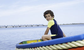 Boy in boat Stock Photography