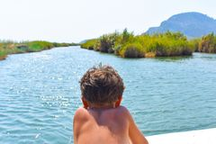 boy on the boat, advancing in the river royalty free stock images