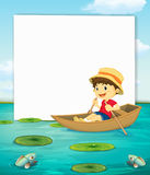 Boy on boat banner Royalty Free Stock Photo