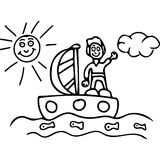 Boy on the boat  kids coloring pages. On this picture you can see kids artistic drawing with some funny question sign. Very high hand drawing illustration.   You Stock Images