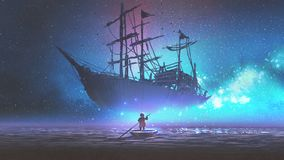 Boy on a boat looking the sailing ship. Little boy rowing a boat in the sea and looking at the sailing ship floating in starry sky, digitl art style Royalty Free Illustration