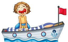 A boy in a boat with a red flag Stock Images