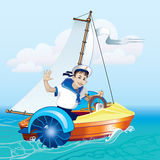 The boy in the boat under sail. A boy stands in a boat looking through a telescope. Water amusement. Boat trip Royalty Free Stock Photo