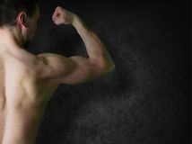 Boy bodybuilder, posing Royalty Free Stock Image