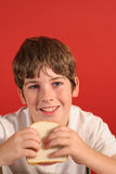 Boy with bologna sandwich vert stock image