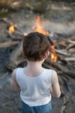 Boy with Bonfire Royalty Free Stock Image