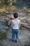 Boy with Bonfire Stock Photo