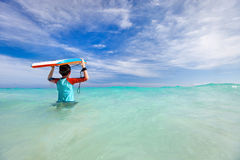 Boy with boogie board Stock Image
