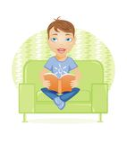 Boy with book. Vector illustration of boy with book Stock Image