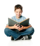 Boy with book. Boy with a book on a white background Royalty Free Stock Photo