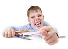 The boy with the pencils Stock Photos