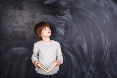 Boy with book. Handsome boy in a gray sweater with a book in hand on gray background Stock Photo