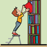Boy book library reading. Line art caricature. The student takes the book from the bookshelf. Literature and education royalty free illustration