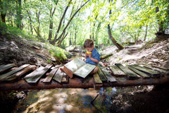 Boy with a book on nature Royalty Free Stock Image