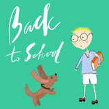 Boy with the book plays with a puppy. Handdrawn inspiration. Back to school. Royalty Free Stock Photography