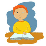 Boy with book. Vector illustration of little boy with his book Stock Image