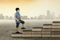 Boy with book walking on books stair Royalty Free Stock Photo