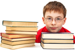 Boy and books Stock Image