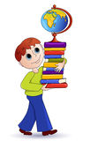 The boy and books. The boy bears a pile of books and the globe. Vector illustration Royalty Free Stock Photos