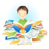 Boy and books. Little amusing boy and books Stock Photos