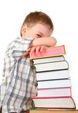 Boy with books. On a white background royalty free stock photography