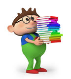 Boy with books. Cute little cartoon boy carrying books  - high quality 3d illustration Stock Photos