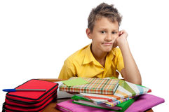 Boy with books makes a grimace. All on white background. Royalty Free Stock Photos