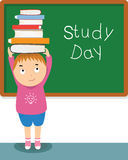 Boy and books in study day  illustration Royalty Free Stock Image