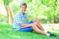 Boy with books Stock Image