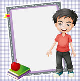 Boy, books and white board Royalty Free Stock Photo