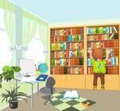 Boy and bookshelf Stock Images