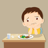 Boy bored with food. Child eating boring food.Cute little boy bored with food royalty free illustration