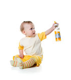 Boy with the bottle of juice Stock Photography