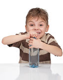 Boy with a bottle of water Royalty Free Stock Image