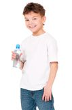Boy with bottle of water Royalty Free Stock Photos