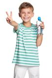 Boy with bottle of water Stock Images