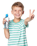 Boy with bottle of water Royalty Free Stock Photography
