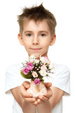 Boy with bouquet Royalty Free Stock Photos