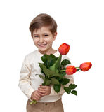 Boy with a bouquet of flowers Royalty Free Stock Photo