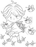 Boy with a bouquet of flowers coloring page Royalty Free Stock Images